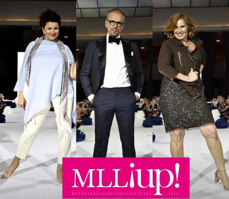 Näyttelijät Satu Silvo, Jukka Puotila ja Sari Havas ovat tottuneet lumoamaan yleisönsä teatterilavoilla. Myös catwalkilla charmi ja läsnäolo toimi.