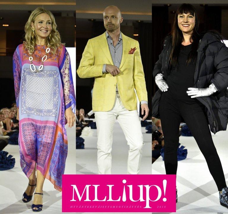 Valovoimaiset Marita Taavitsainen, Juha Tapio ja Mira Luoti hurmasivat yleisön -tälläkertaa catwalkilla malleina.